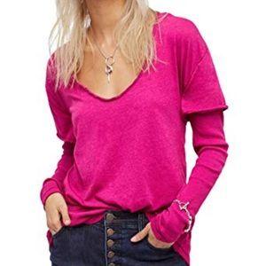NEW NWT Free People Magic Tee Top Purple Pink